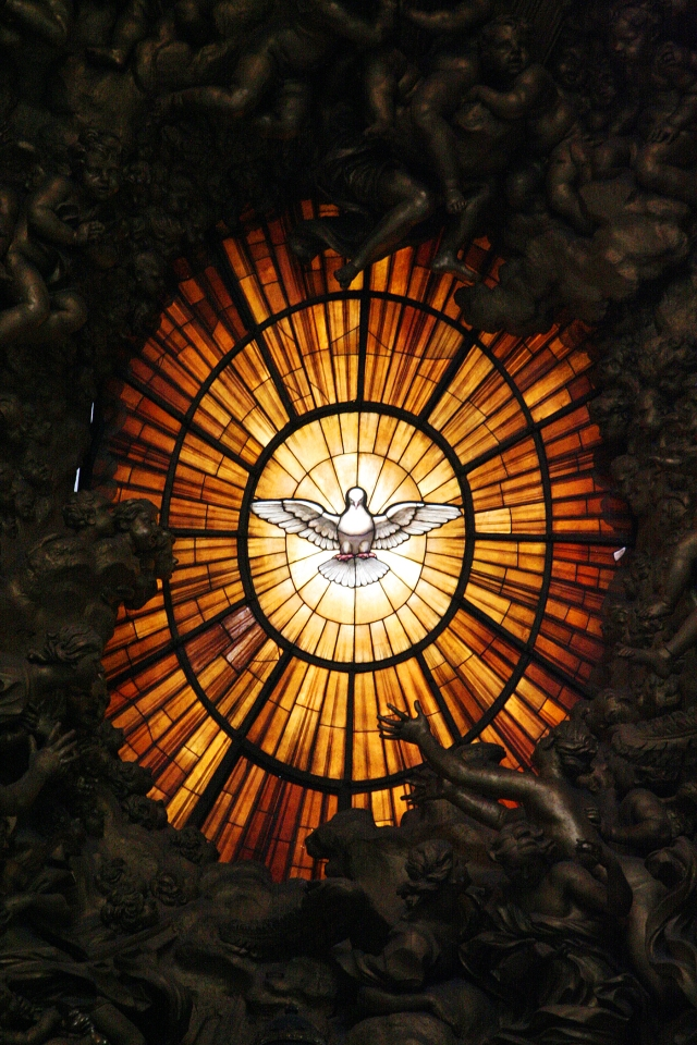 holy-spirit-dove in stained glass window